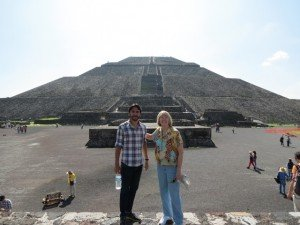 Our guide for Teotihucan.  The pyramid of the sun is behind us.
