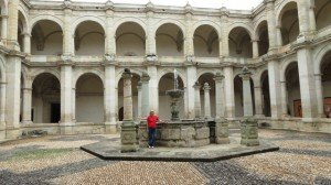 The courtyard of the museum at the Santa Domingo Church In Oacaca.